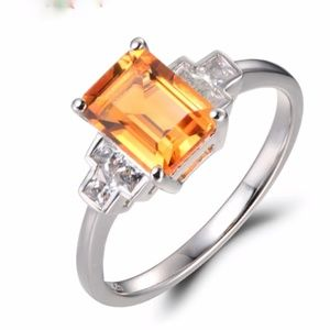 Sterling Silver Citrine Rectangle Ring